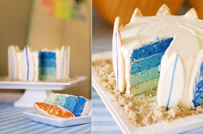 surf's up party cake