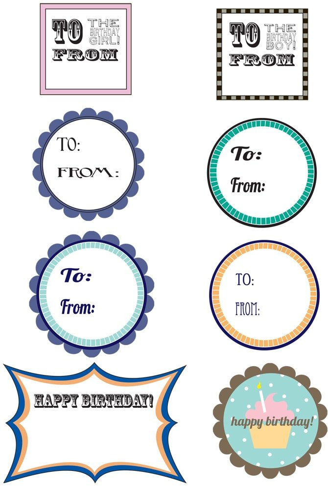 Sizzling image regarding free printable birthday tags
