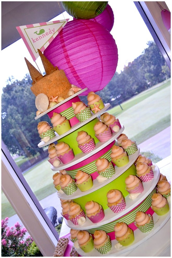 pink beach party cupcakes