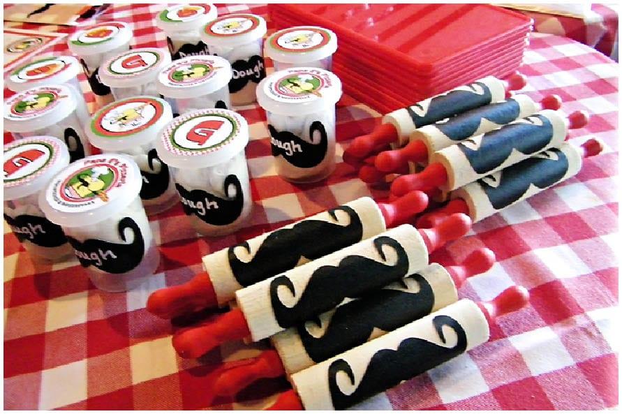 Pizza Party Moustaches Mozzarella Pizzazzerie