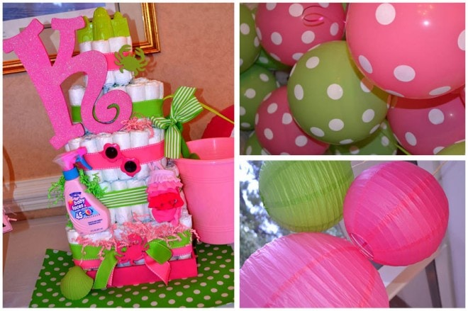 preppy pink baby shower beach 2