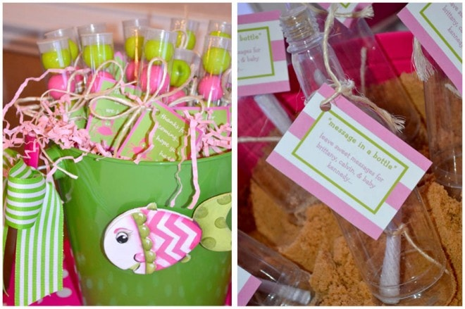 preppy pink baby shower beach