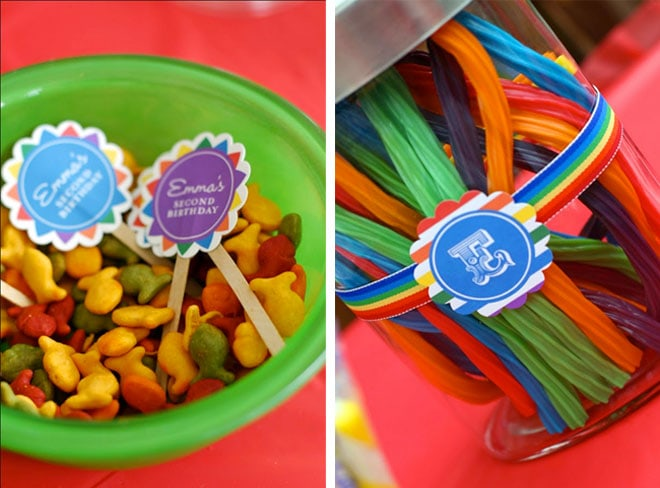 rainbow birthday party sweets