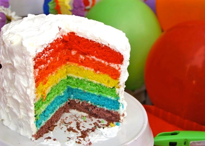 rainbow layered birthday cake