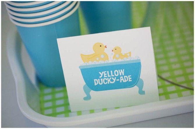 yellow rubber ducky drink birthday party