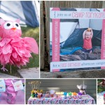 pink owl camping party
