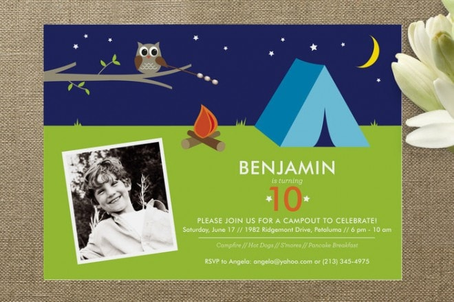 camping themed invitation