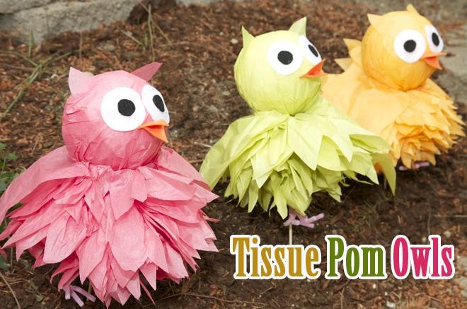 diy tissue pom owls