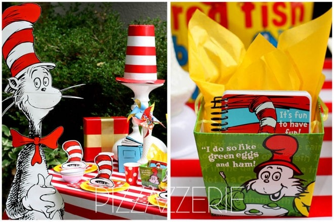 dr seuss birthday party cat in hat table 1