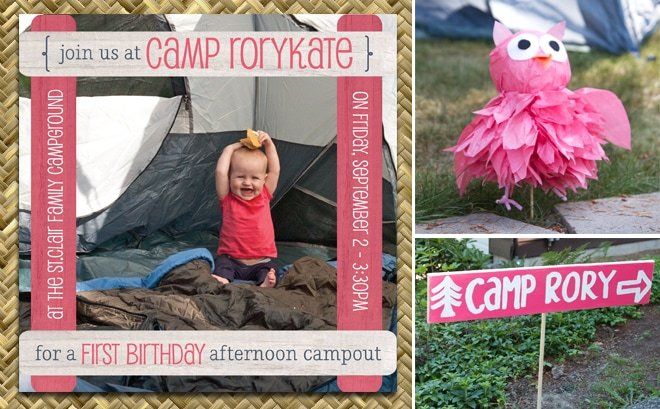 pink camping themed first birthday party decorations