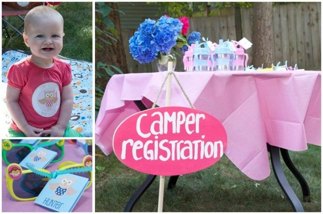 pink first birthday camping party 2