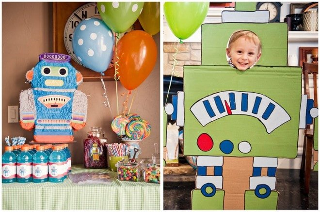 robot themed boy's birthday party 1