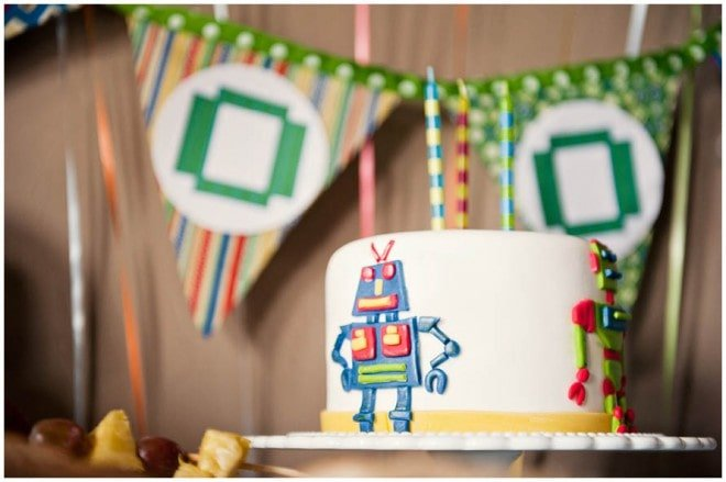 robot themed boy's birthday party 2