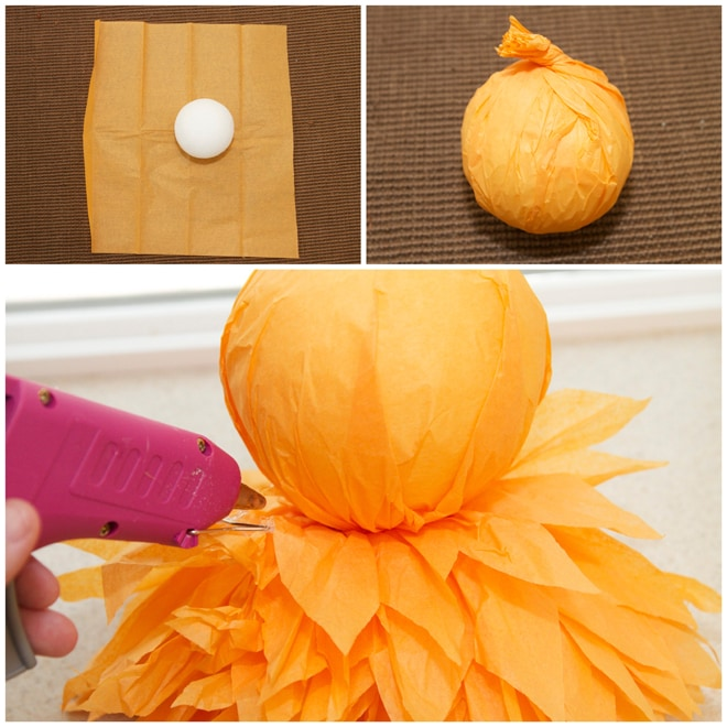 step 5 diy tissue owl pom