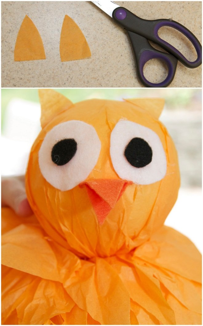 step 9 diy tissue pom owl