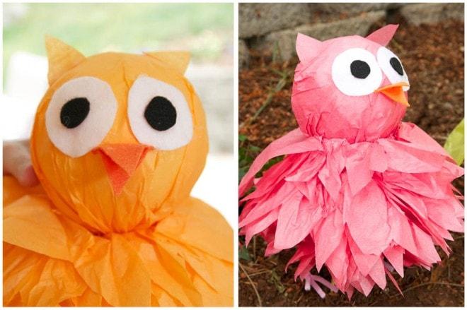 tissue paper owl diy tutorial