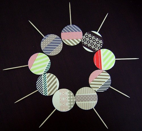 washi tape cupcake toppers