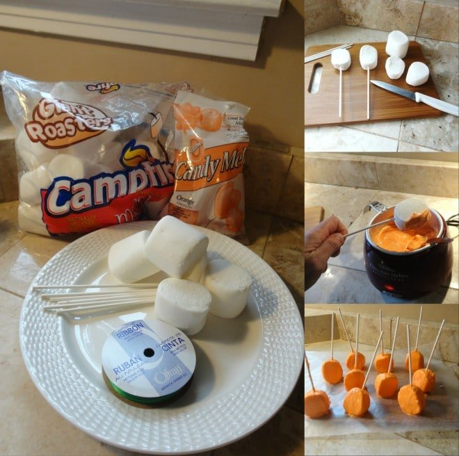 Pumpkin Marshmallow Pops Directions