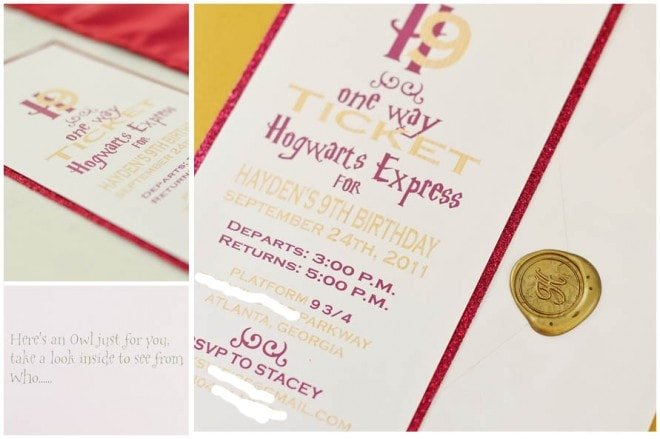 harry potter party invitation