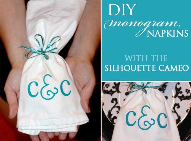 monogrammed napkins silhouette cameo