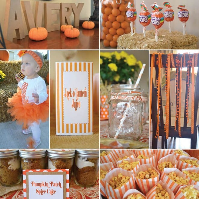 pumpkin painting 1st birthday party picture 3