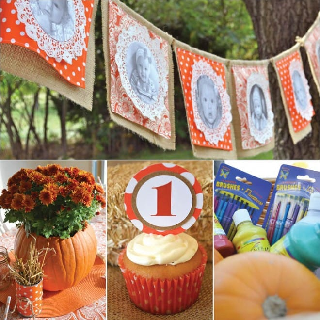 pumpkin painting 1st birthday party picture 4
