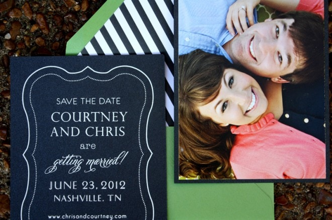 Preppy + Striped Save-The-Dates from Custom Paper Works