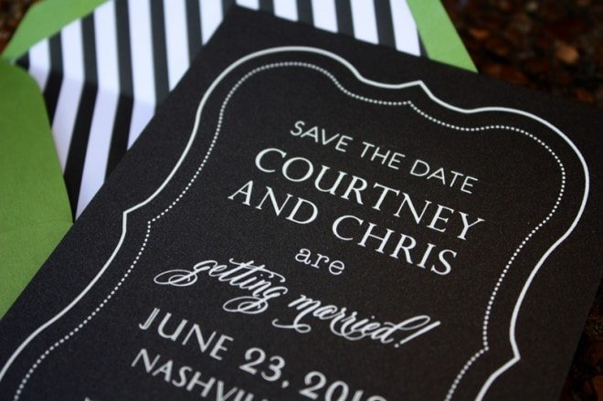 black and white preppy save the dates