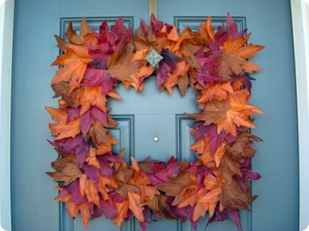 square fall autumn leaf wreath tutorial