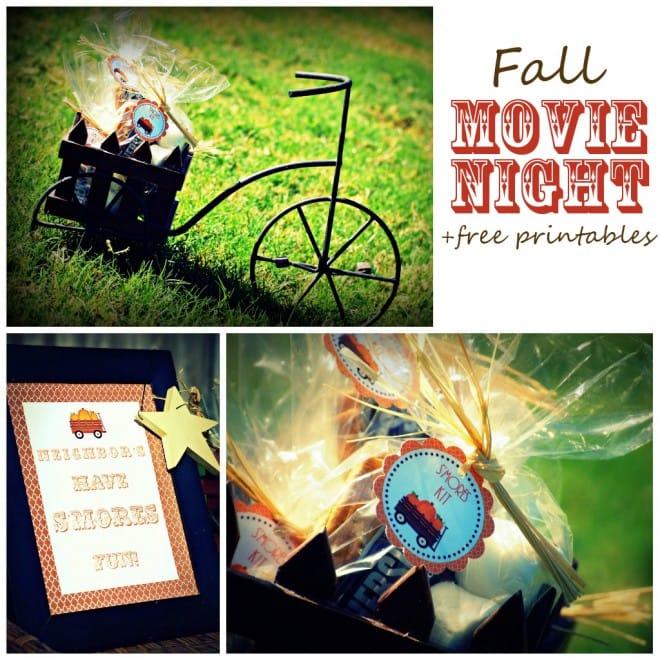 fall movie night free printables