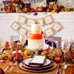 elegant thanksgiving tablescape with gold and purple