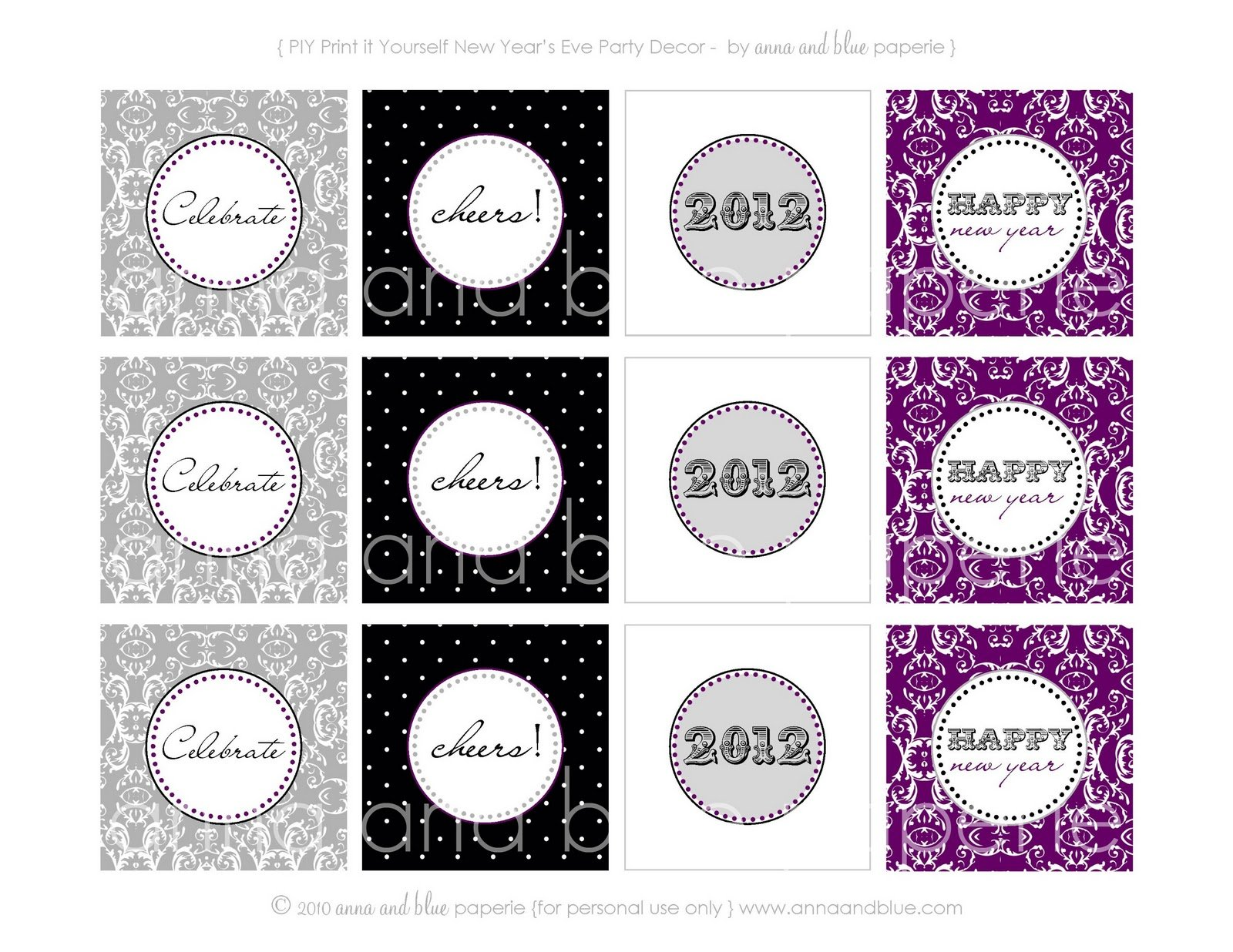 More Free 2012 New Year S Eve Printables Pizzazzerie