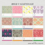 2012 Free Printable Calendar from Anna & Blue Paperie!