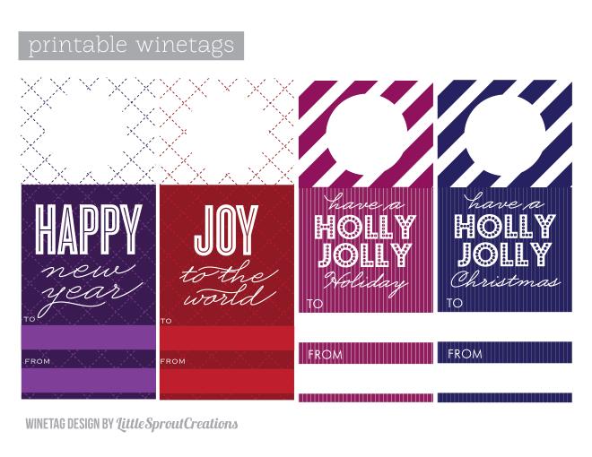 free printable holiday wine tags