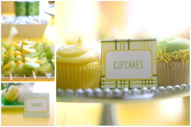 yellow and green plaid baby shower picture