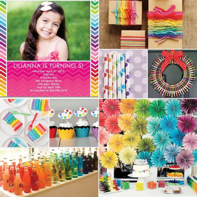 rainbow colorful art crayon party pictures