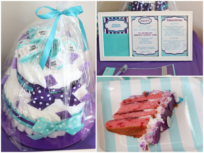 and teal baby shower decorations purple aqua carnival baby shower