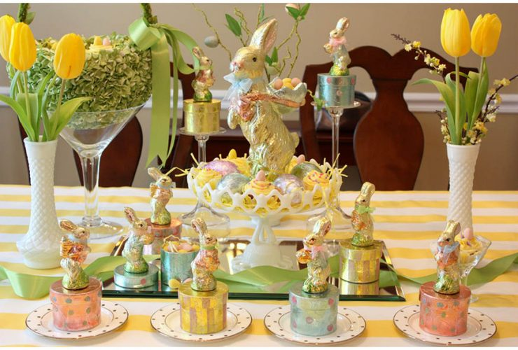 Easter Tablescape with touches of Metallic!