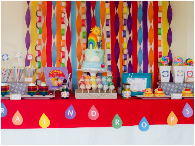 Colorful Raindrops Rainbow Party 9