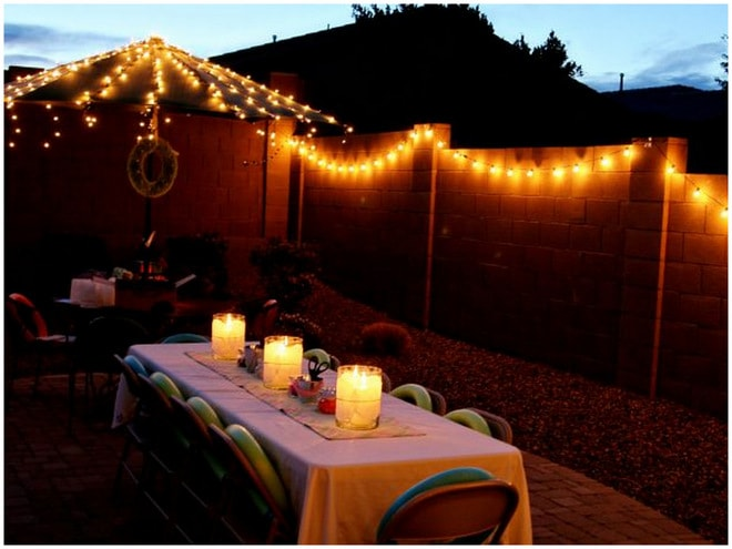 Outdoor String Lights on a  Patio