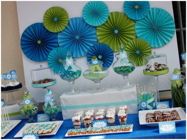 blue and green little prince baby shower