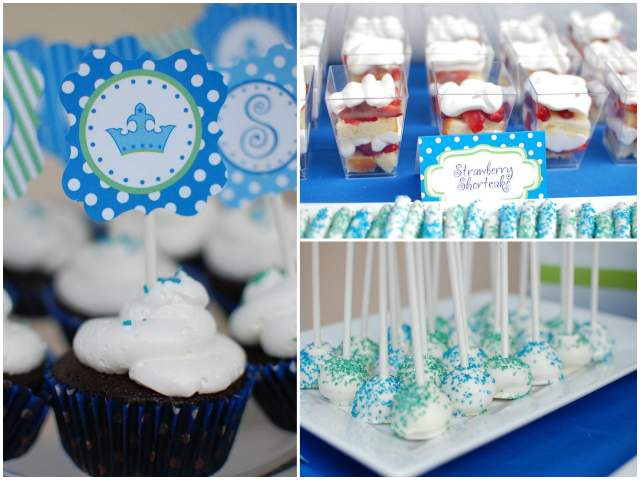 blue and green dessert table party 4