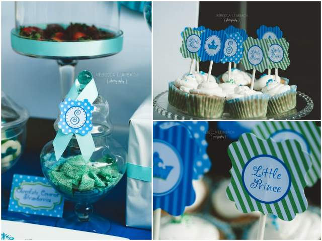 blue and green dessert table party 2