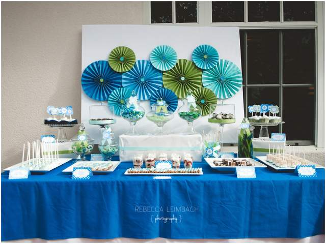 blue and green dessert table party 3