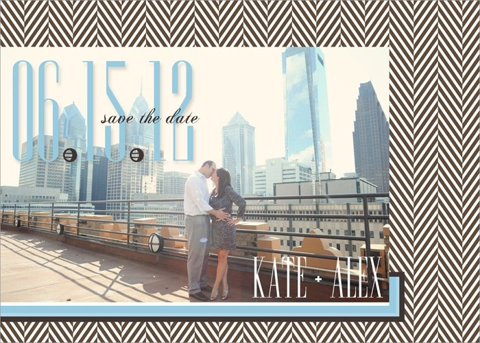 herringbone save the date