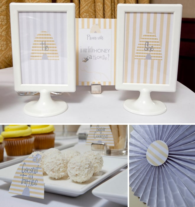 honeybee themed gender reveal baby shower