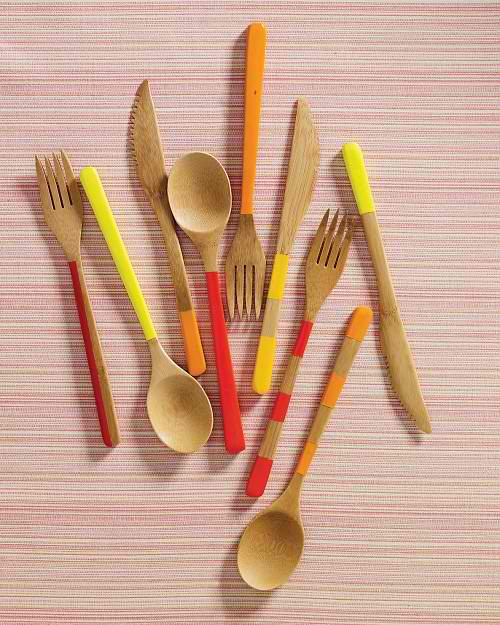 painted bamboo cutlery by martha stewart
