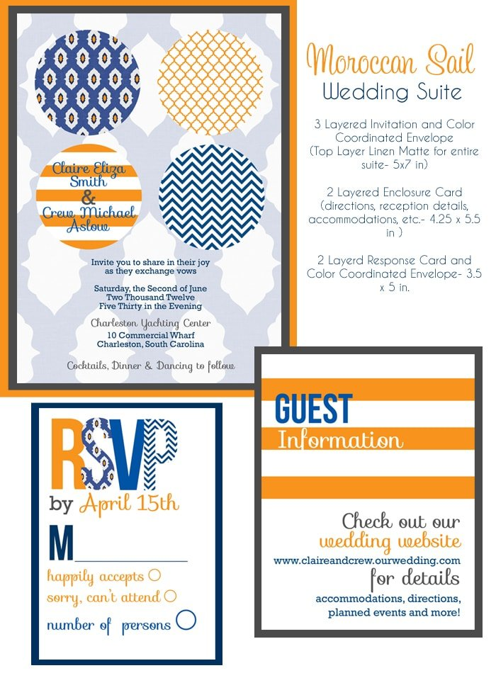orange navy wedding invitations