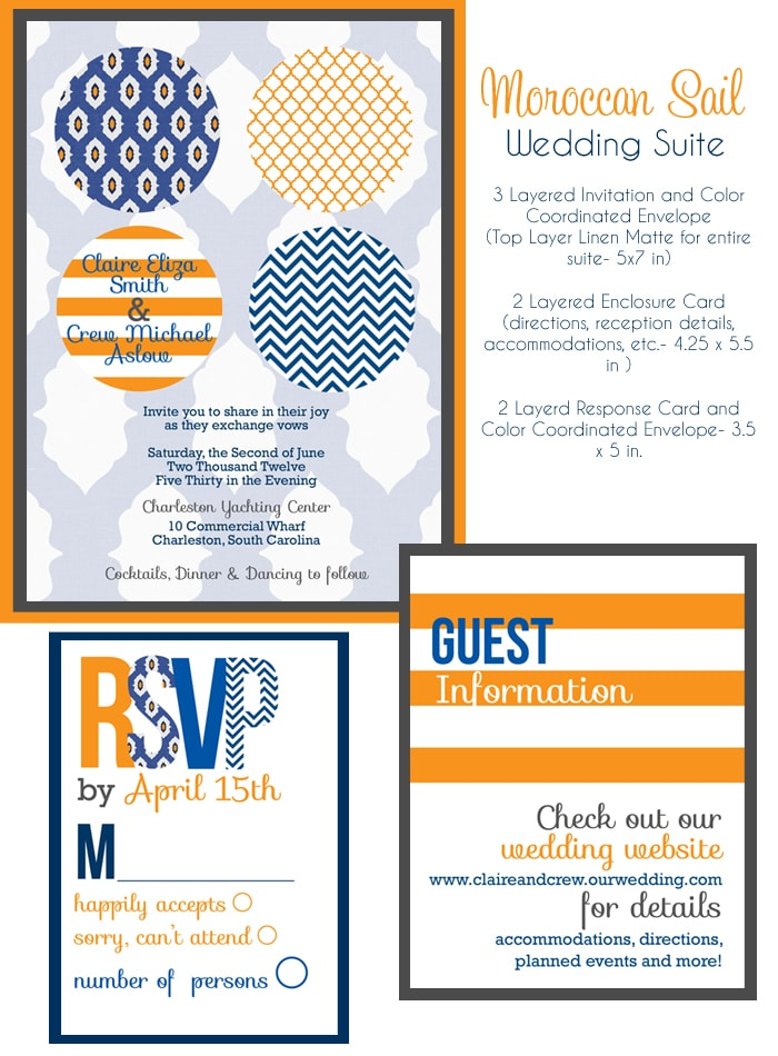 orange navy wedding invitations