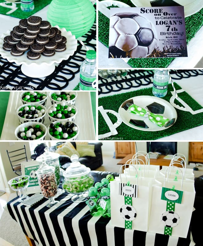 soccer birthday party green black white 2